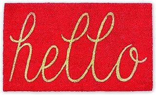 DII Hello Coir Fiber Doormat Non-Slip Durable Outdoor/Indoor, Pet Friendly, 18x30, Coral