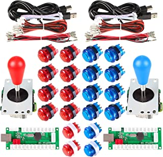 Avsiri 2 Player LED Arcade DIY Parts 2X USB Encoder + 2X Ellipse Oval Style Joystick + 20x LED Arcade Buttons for PC MAME Raspberry Pi Windows (Red & Blue Kit)