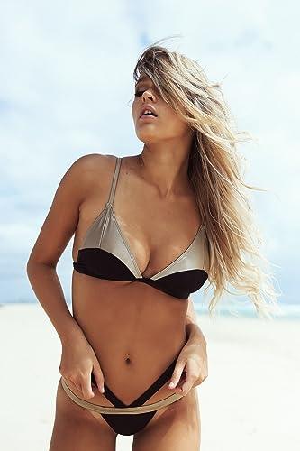 QPLA Maillot de Bain Femme Bikini,noir,S