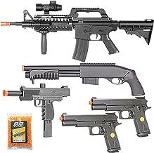 BBTac Airsoft Gun Package Desert Raider - Powerful Spring Rifle, Pump Action Shotgun, SMG, Two Pistols and BB Pellets, Pre...