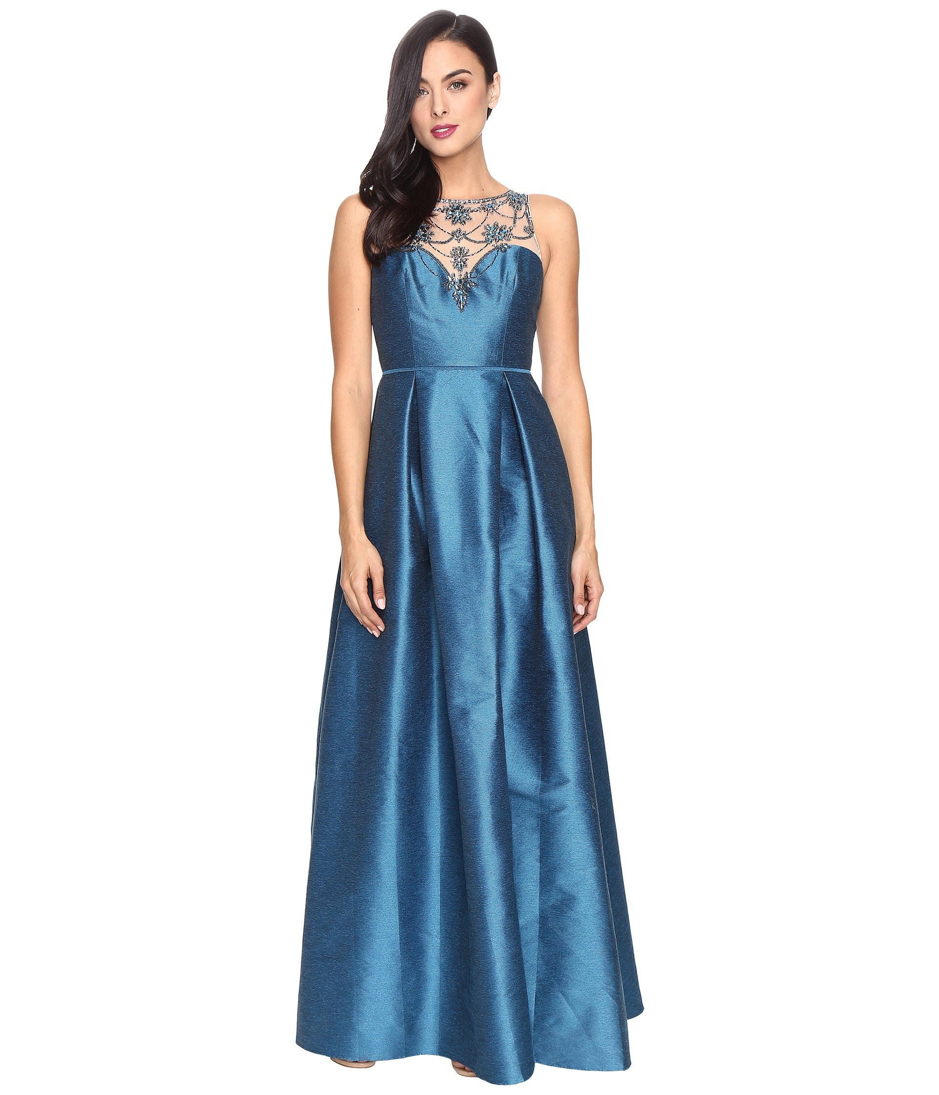 ADRIANNA PAPELL CASABLANCA HALTER BEADED BODICE BALL GOWN WITH FRONT ...