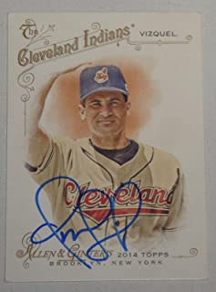 Omar Vizquel Signed 2014 Topps Allen & Ginter Indians Baseball Card 67 Autograph - Baseball Slabbed Autographed Cards