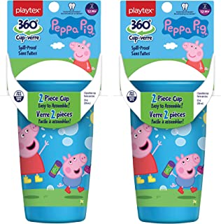 Playtex Sipsters Stage 2 360 Degree Peppa Pig Spill-Proof, Leak-Proof, Break-ProofSpoutless Cup for Girls, 10 Ounce - Pack of 2