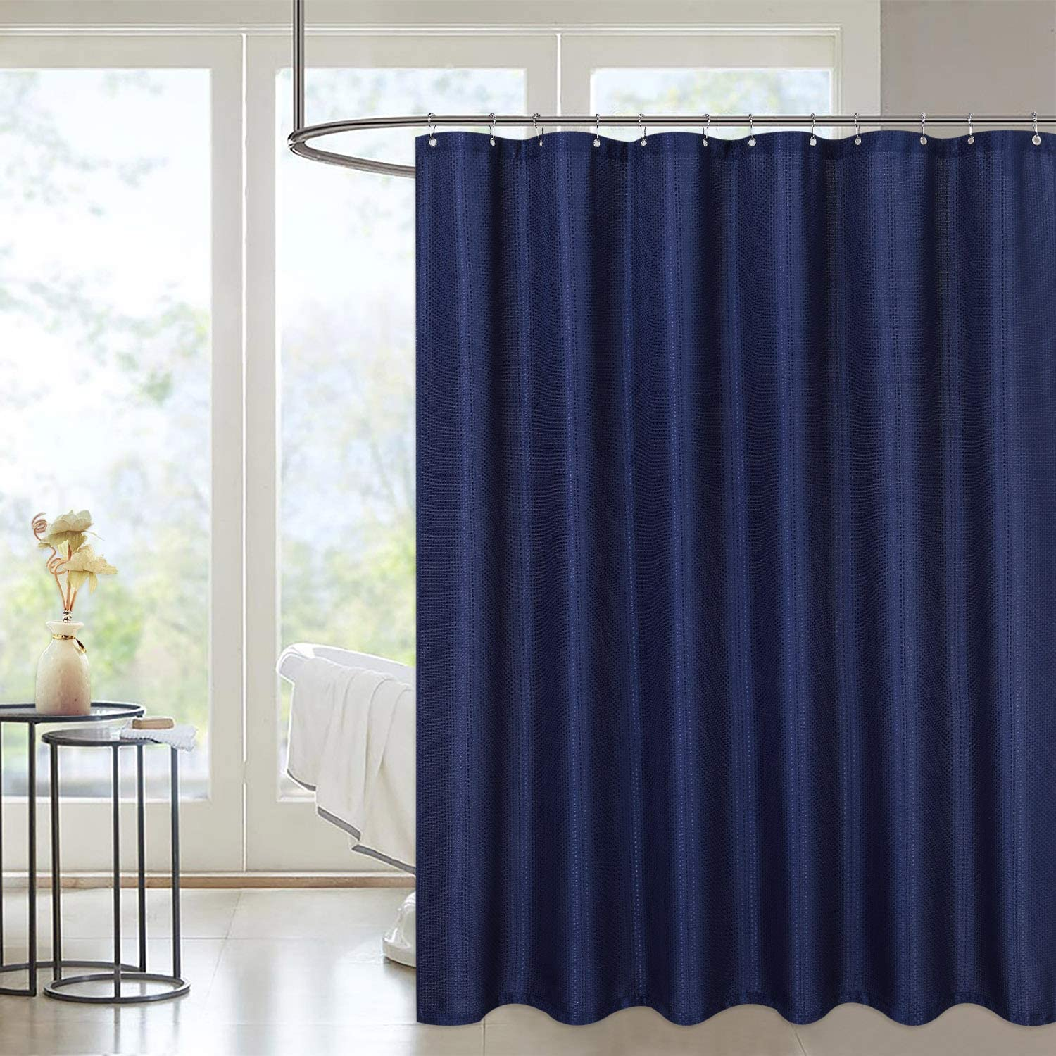 """LinTimes Waterproof Bathroom Curtains Anti Mould Polyester Shower Curtains Navy Waffle Bathtub Curtain, 72x78 inches Navy 183*198cm(72""""*78"""")"""