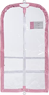 Clear Plastic Garment Bag with Pockets for Dance Competitions Danshuz - Pink