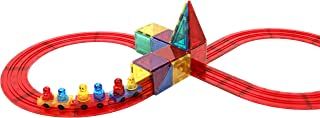 Magnetic Stick N Stack Award Winning 30 Piece Train Set, Made with Power+Magnets, Includes Train Track Tiles, 3 Train Base...
