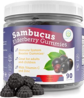 Elderberry Gummies for Kids & Adults - 260mg Sambucus, Vitamin C and Zinc (90 Gummies) Immune System Support Booster - All...