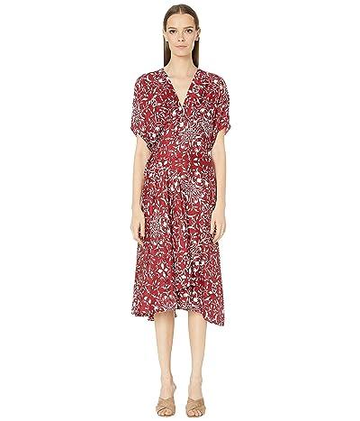 The Kooples Floral Print Maxi Dress (Burgundy) Women