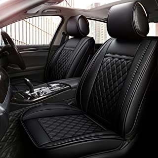 INCH EMPIRE 2 Front Car Seat Cover Waterproof Synthetic Leather Car Seat Cushion Universal Fit for BMW Buick Chevrolet Dodge Ford Honda Hyundai Infiniti Jeep-Easy Install (2 Front Black Grid Trim)