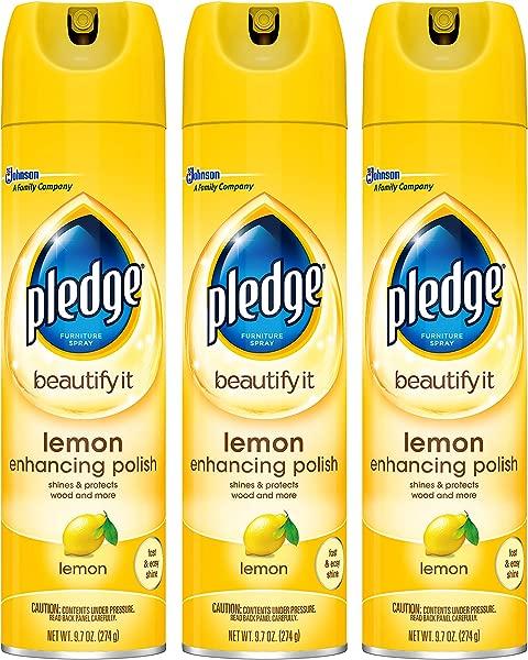 Pledge Lemon Enhancing Polish Yellow 9 7 Oz 3 Ct