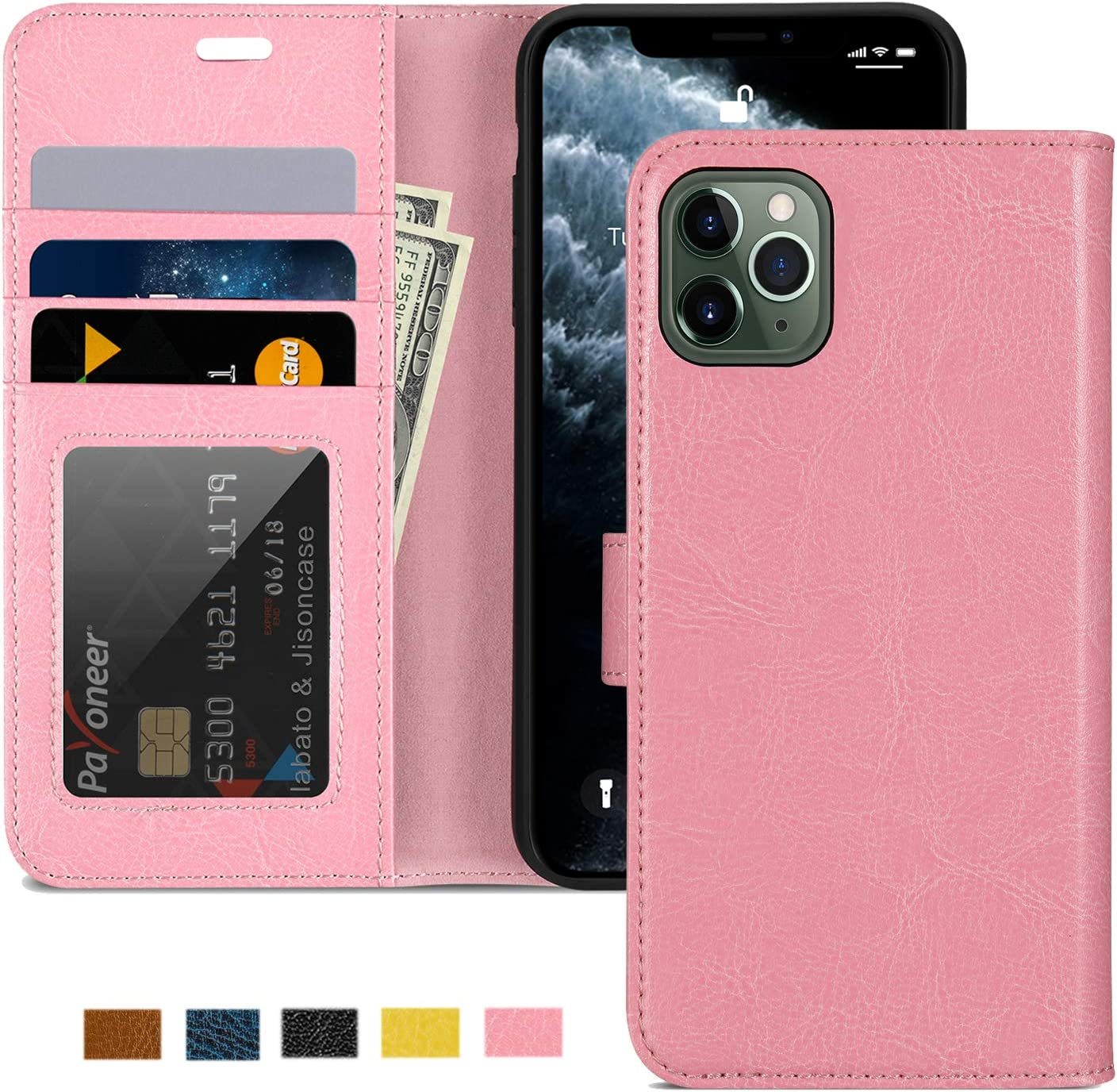 """JISON21 iPhone 11 Pro Max Wallet Case, Leather Wallet Flip Case with Card Holder Foldable Kickstand, Magnetic Closure Shockproof Wallet Case for iPhone 11 Pro Max 6.5""""(Pink)"""