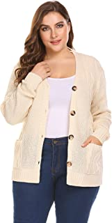 76e3a0a138d Zeagoo Womens Plus Size V-Neck Cable Knit Button Down Chunky Cardigan  Sweater Coat Pockets