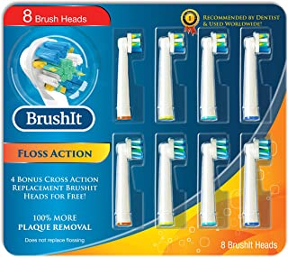 Toothbrush Replacement Brush Heads Refill for Oral B Braun Electric Toothbrush, Pro1000 Pro1500 Pro3000 Pro6000 Pro7000, Genius 8000 9600, 4 Floss Action, 4 Cross Action, 8 Count