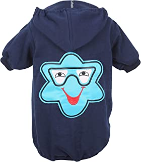 Dough Couture Winter Cotton Printed Hoodie T-Shirts for Dogs - Blue- 18 inches