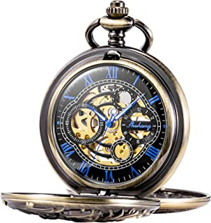 TREEWETO Antique Brone Dragon Mechanical Skeleton Pocket Watch with Chain