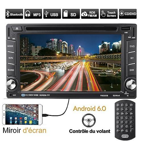 Catuo Autoradio Bluetooth GPS Android 6.0 Écran Tactile 6.2'' 1080p WiFi Intégré CD/DVD/VCD/MP3/MP4/SD/USB Radio RDS AM/FM Stéréo Contrôle au Volant Miroir d'écran Caméra Recule Supporté Télécommande