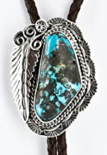 $480Tag Certified Silver Navajo Natural Turquoise Native American Bolo Tie 1206-2 Made by Loma Siiva