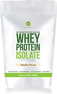 Antler Farms - 100% Grass Fed New Zealand Whey Protein Isolate, Vanilla Flavor, 30 Servings, 2 lbs - Delicious, Cold Processed, Rapidly Absorbed, Keto Friendly, NO Hormones, NO Antibiotics, NO GMOs