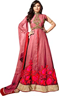 1 Stop Fashion Women's Art Silk Anarkali Salwar Suit Set (70612CT_Pink_XXXX-Large)