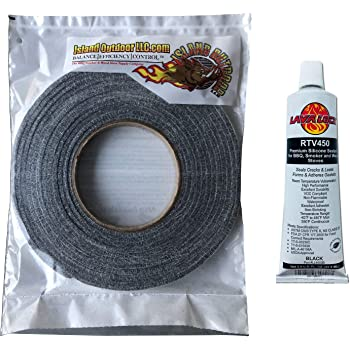 "LavaLock Self Stick Kit 1/2"" x 1/8"" Grey BBQ Smoker Gasket Black RTV Grill Sealer Hi-Temp"
