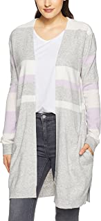 French Connection Women's Stripe Varsity Cardigan, Grey Marle/Lilac/WHI
