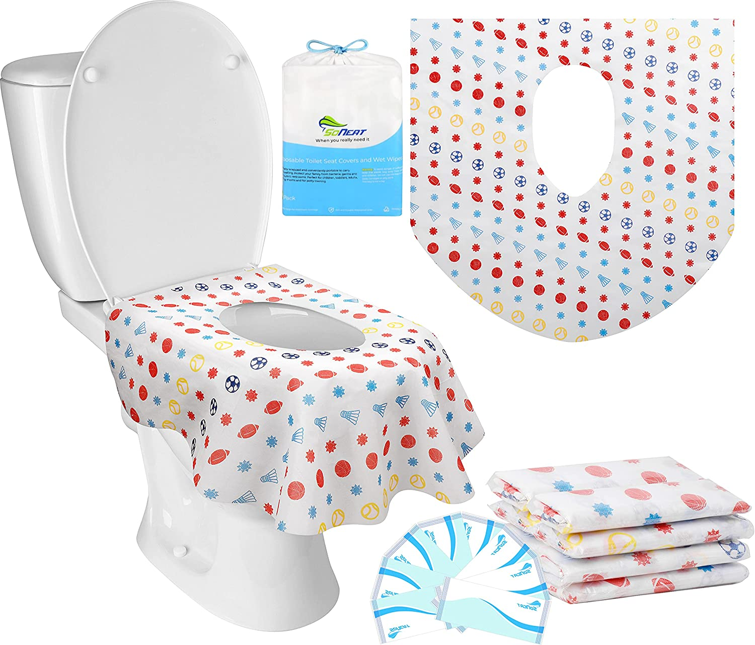 SoNeat Disposable toilet seat covers for kids and adults-Extra Large Coverage, Waterproof, Individually Wrapped for Travel, Toddlers Potty Training in School and Public Restrooms (Sports, 16)