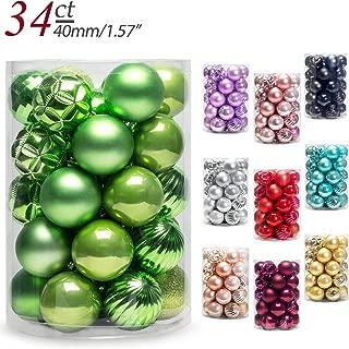 AMS Christmas Ball Mini Ornaments Party Decoration Shatterproof Festival Widgets Pendant Hanging Pack of 34pcs (40mm, Green)