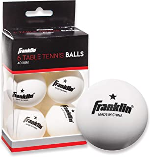 Franklin Sports Table Tennis Balls - Official Size and Weight 40mm Table Tennis Balls - One Star Professional Balls - Bulk Packs and Family Sets - White - Pack of 6