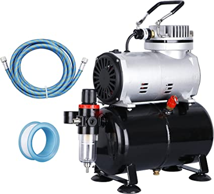ZENY Pro 1/5 HP Airbrush Air Compressor Airbrushing Kit w/ 3L Tank and 6FT Hose Multipurpose for Spraying Cake Decorating Tattoo Nail Craft Painting: image