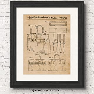 Original Hermes Birkin Bag 2012 Patent Poster Prints, Set of 1 (11x14) Unframed Photo, Wall Art Decor Gifts Under 15 for Home, Office, Designer, College Student, Teacher, Street Fashion & Movies Fan