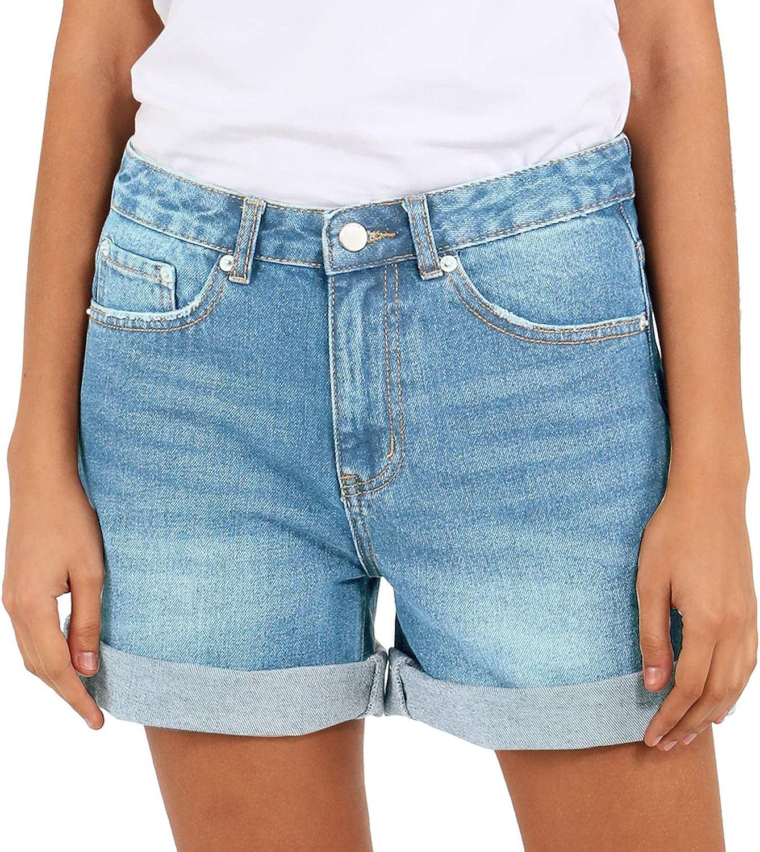 Women's Denim Short Vintage High Waisted Folded Hem Jeans Shorts Mom Bermuda