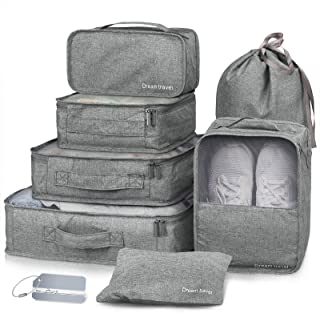 Packing Cubes 7 Pcs Travel Luggage Packing Organizers Set with Laundry Bag by NICEPACK (Grey)