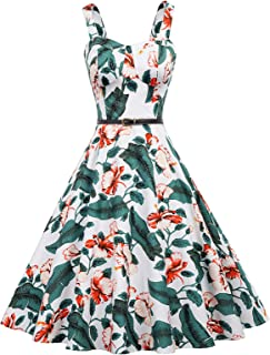Belle Poque Homecoming 1950s Retro Vintage Sleeveless V-Neck Flared A-Line Dress BP416