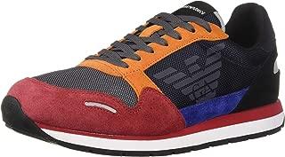 Emporio Armani Men's Lace Up Logo Fashion Sneaker, Multi color, 44 EU