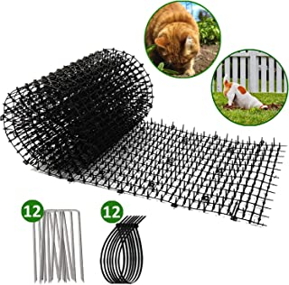 Worthofbest Cat Scat Spikes Mat, Cat Deterrent Mat, Outdoor and Indoor Cat Repellent Include 12 Garden Staples and 12 Twists, Keep Pets Off, Stop Digging, 6.5 ft Long