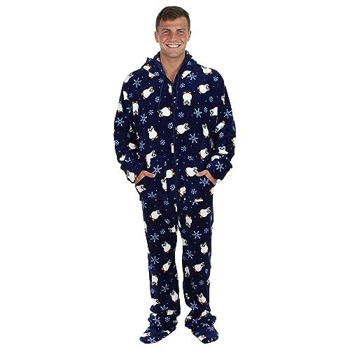 8744dc69bca9 SleepytimePjs Men s Sleepwear Fleece Hooded Footed Onesie Pajamas