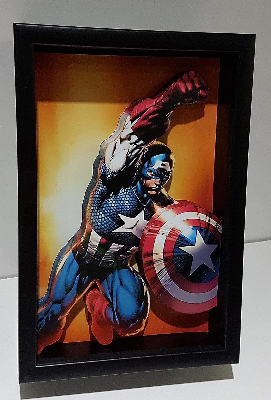 Captain America Picture Frame 3D Art Super Steve Rogers Product Marvel H SALENEW very popular!