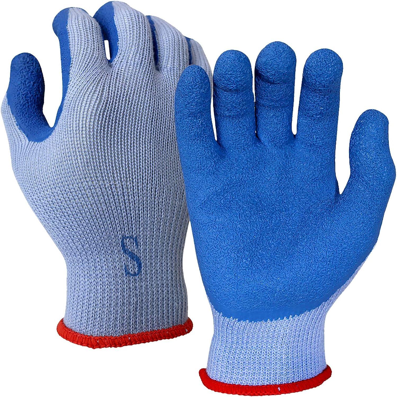 WOLF Blue Heavy-Duty Textured Rubber Latex Grip Knit Glove, Cut Resistant, Unisex