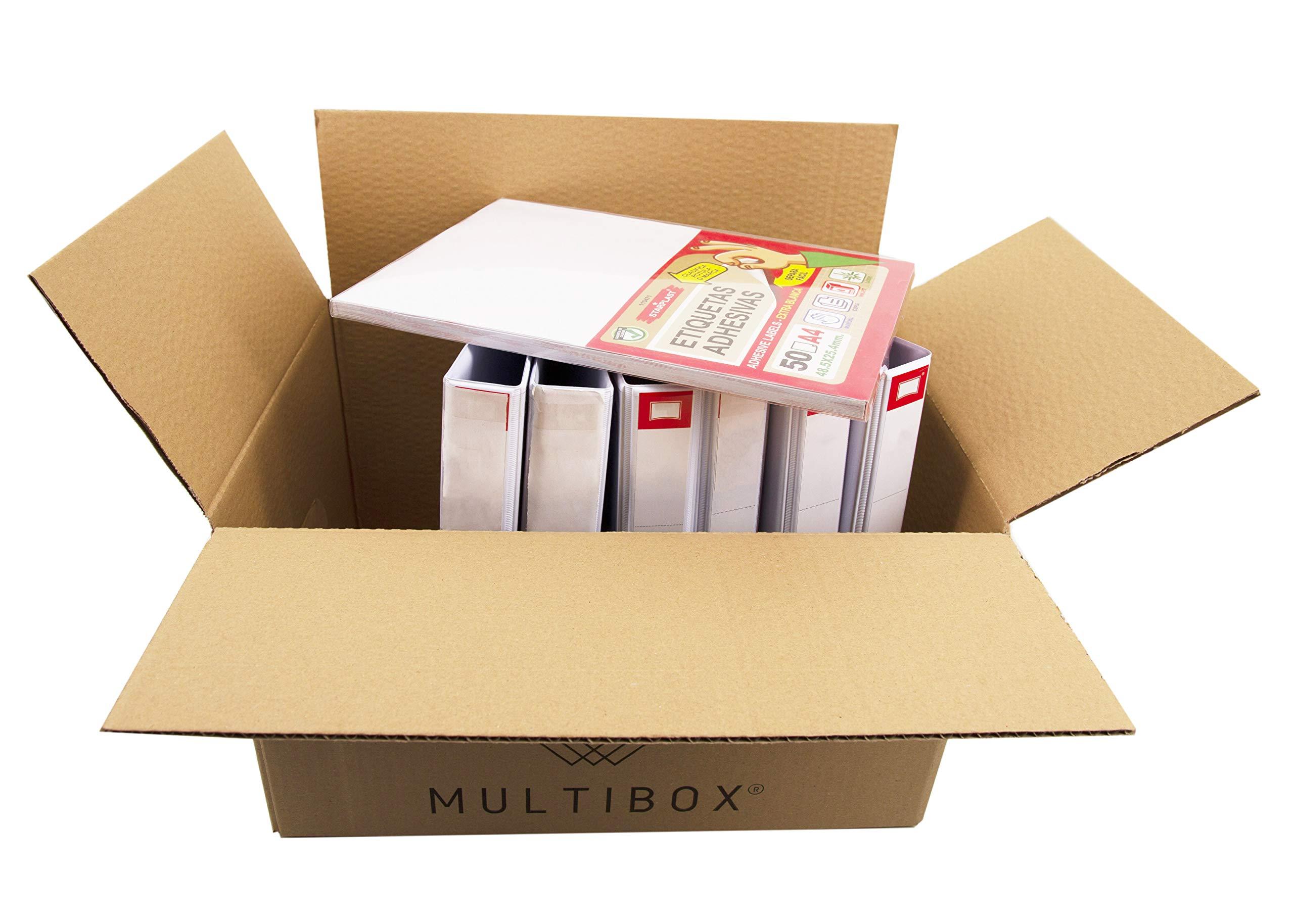 Pack 20 Cajas Cartón Mudanza y Almacenaje Con Asas Reforzado (51617) Resistente 430x300x250mm Fabricado En España diseño ergonómico Multiusos logística Mercancías Documentos Organizador Trastero: Amazon.es: Oficina y papelería