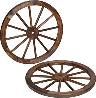Trademark Innovations Decorative Vintage Wood Garden Wagon Wheel with Steel Rim-24 Diameter (Set of 2)