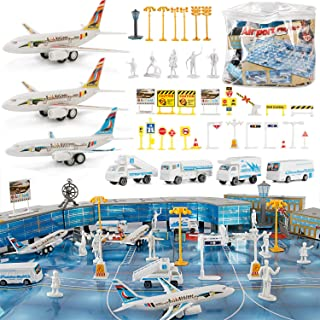 Liberty Imports 200 Pieces Deluxe Airport Terminal Kids Toy Airlines Pretend Playset with Airplanes, Vehicles, Figures, an...