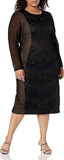 Dress the Population womens Evan Long Sleeve High Neck Midi Dress Plus Dress