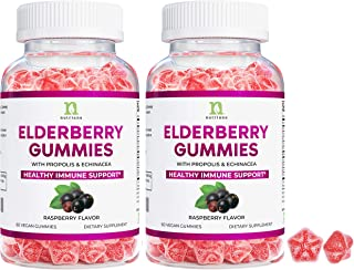 Elderberry Gummies with Vitamin C for Immune Support - Black Elderberry Gummies for Adults & Kids, Echinacea, Propolis - I...