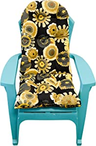 Resort Spa Home Decor Outdoor Tufted Adirondack Chair Cushion - Black, Yellow, Grey Floral
