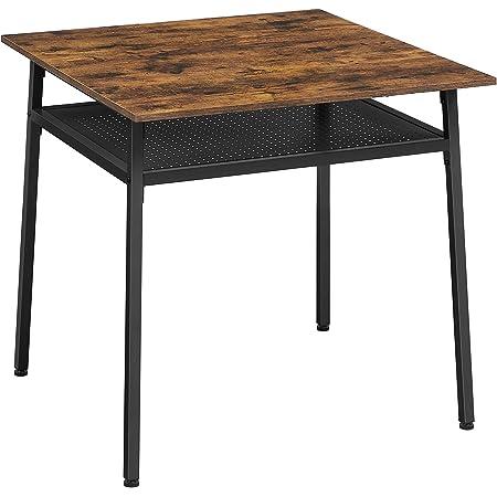 VASAGLE Table à Manger 2 Personnes, Table de Cuisine carrée, 80 x 80 x 78 cm, avec Rangement, pour Salon, Bureau, Style Industriel, Marron Rustique et Noir KDT008B01