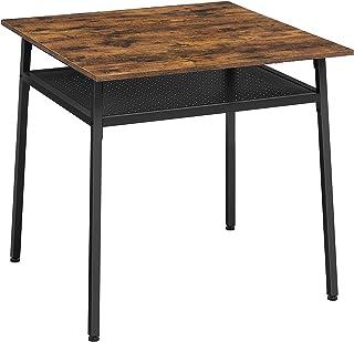 VASAGLE Table à Manger 2 Personnes, Table de Cuisine carrée, 80 x 80 x 78 cm, avec Rangement, pour Salon, Bureau, Style In...