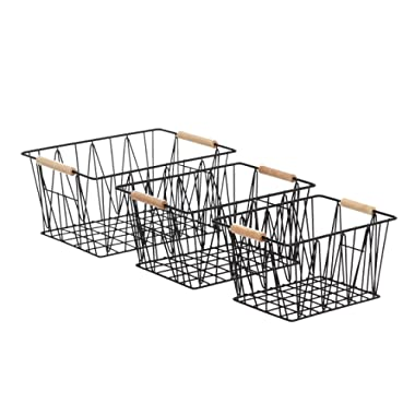 AmazonBasics Wire Storage Baskets - Set of 3, Black