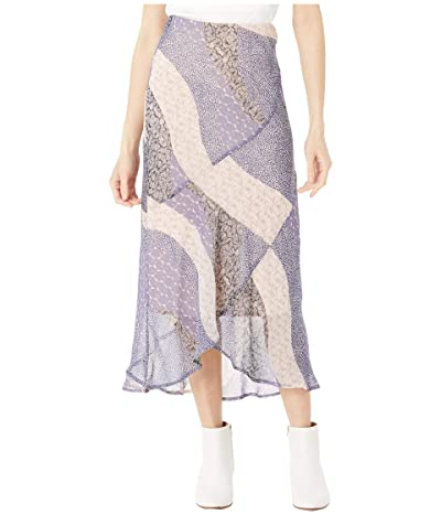 BB Dakota x Steve Madden Patch Me In Patchwork Floral Printed Chiffon Midi Skirt (Steel Lavender) Women