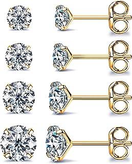 أقراط للنساء 4 أشواك مكعب زركونيا أقراط للرجال مجوهرات لا تسبب الحساسية حزمة من 4 قطع