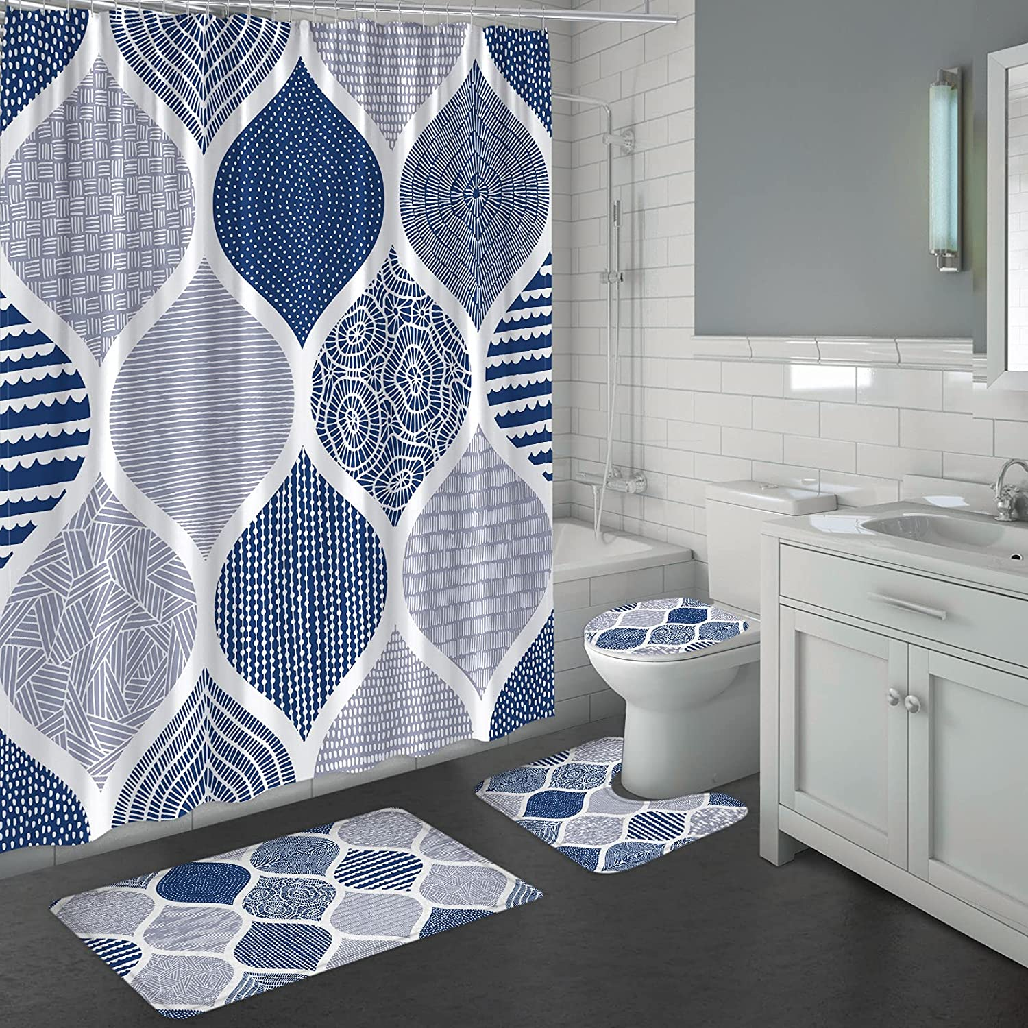 MitoVilla Blue Shower Curtain Sets with Rugs, Navy Blue Bathroom Sets with  Shower Curtain and Rugs and Accessories, 20 Pcs Boho Shower Curtain Sets, ...